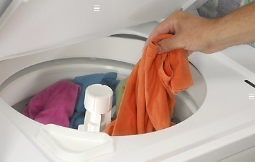 clothes in wash machine