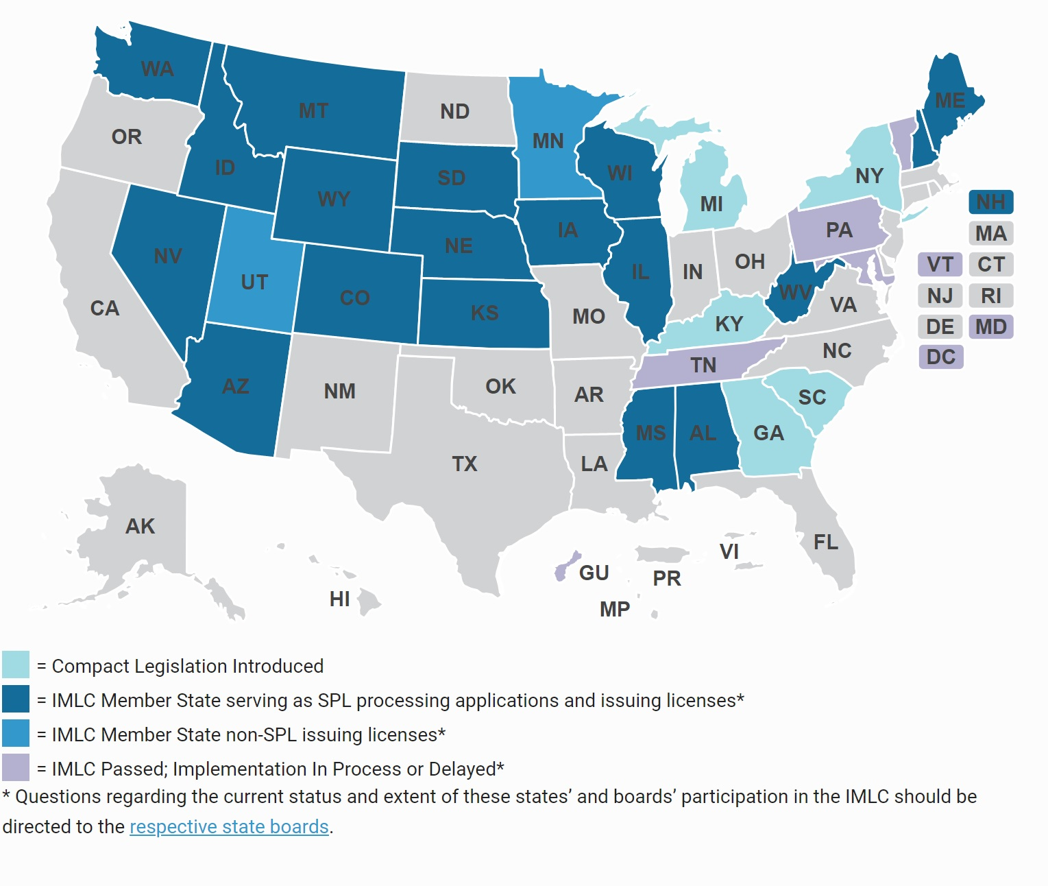 Compact State Map.Fsmb Interstate Medical Licensure Compact American Academy Of