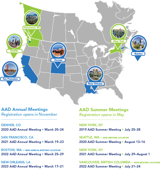 Meeting location and dates | American Academy of Dermatology